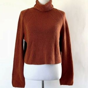 Leith Brown Spice Cropped Cowl Neck Sweater